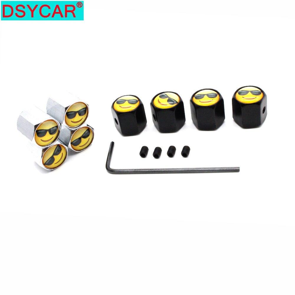 DSYCAR 1Set Zinc Alloy Anti-theft Sunglasses Smile Style Car Tire Valve Caps Wheel Tires Tire Stem Air Cap Airtight Covers