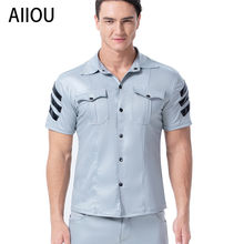 AIIOU Mannen Hemdjes Homo Kunstleer Pocket Shirt Strakke Korte mouwen Wet Look Hemd Uniform Dance Club Wear Kostuum(China)