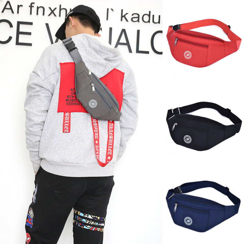 Men Women Waist Bum Bag Fanny Pack Belt Money Pouch Wallet Zip Travel Hiking Bag