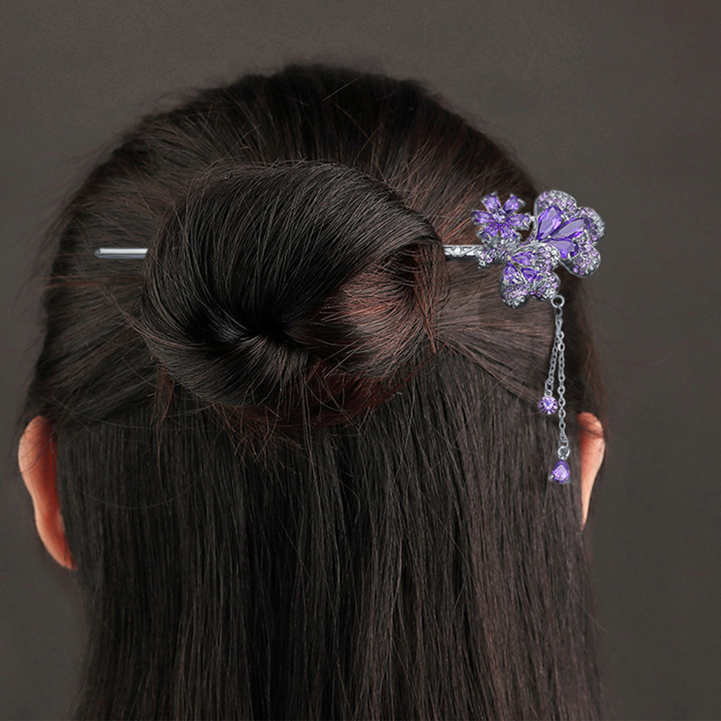 CHIMERA Vintage Tassels Hairpins Elegant Crystal Rhinestone Flower Hair Stick Clips Pin for Women Banquest Jewelry Accessories