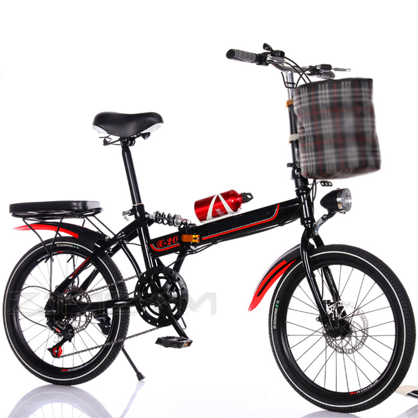 New Folding Bicycle 20 Inch Variable Speed Damping Disc Brake for Adults Ultra-Light Children Students Portable Small Bicycle