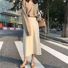 Novo elegante sólido mulheres midi saias solta selvagem cintura alta hip saia de malha inferior lazer senhoras saia escritório senhora trabalho wear