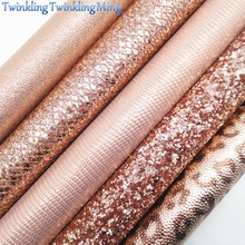 """Розовое золото массивные блестящие холщовые листы, """" x 11"""" блестящие листы, леопардовая искусственная кожа лист для волос лук& серьги ткань XM074"""