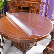 1.0mm Round PVC Tablecloth Waterproof Oilproof able Cover Glass Soft Cloth Table Home Kitchen Placemat Dining Room