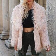 Fashion Furry Faux Fur Coat Women Fluffy Warm Long Sleeve Female Outerwear Winter Coat Jacket Hairy Collarless Cardigan Overcoat