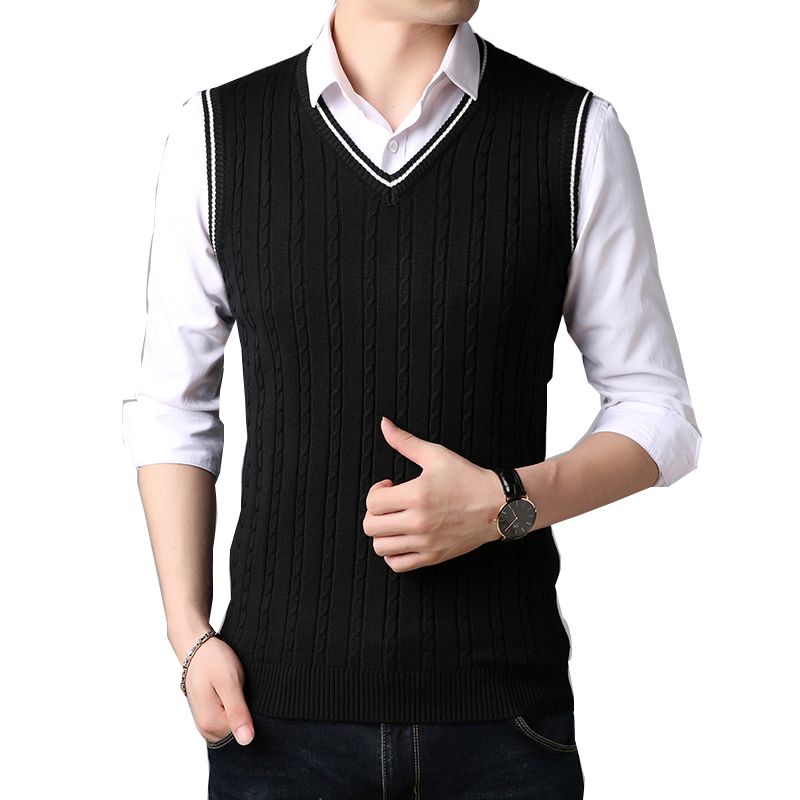 TFETTERS Men Clothes 2019 Autumn Winter New Classic V-neck Sleeveless Sweater Mens Knitwear Wear Fashion Black Sweater For Boy