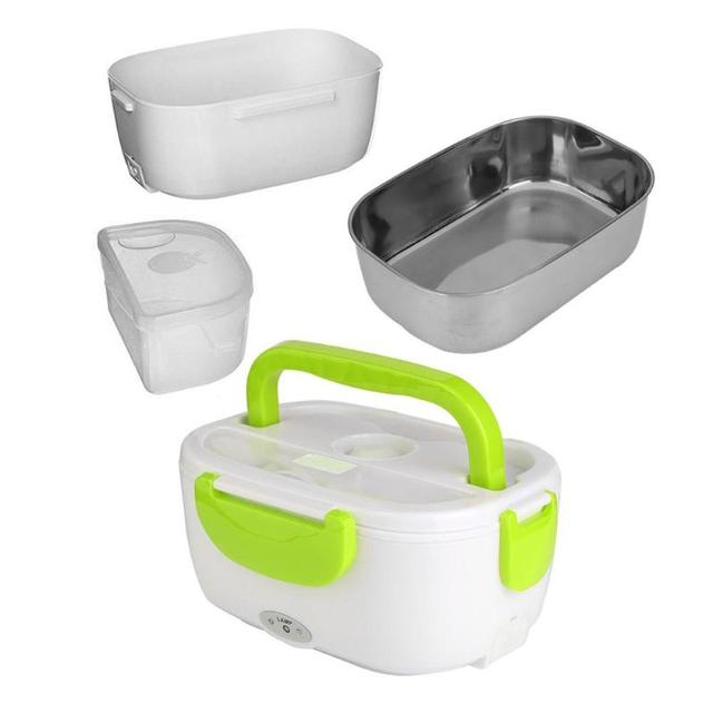 2 in 1 Portable Stainless Steel Liner ABS Shell Electric Heating Lunch Box Food Heater Container Kitchen Dinnerware