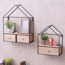 Creative DIY Triangle House Drawer Type Storage Cabinet Iron Solid Wood Wall Hanging  Holders Home Decoration Organizer
