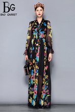 Baogarret Runway Maxi Dress Plus size Women's Long Sleeve Bow Collar Vintage Floral Print Chiffon Party Holiday Long Dress baogarret fashion designer autumn dress women s long sleeve bow collar tiered floral leopard print vintage dress