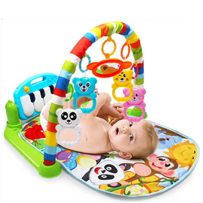 Musical Baby Play Mat Kids Rug Educational Puzzle Toys Play Kick Piano Gym Newborn Carpet With Piano Keyboard Baby Gym Sounds Fitness Fun Crawling Activity Mat Toys for Infants Toddlers