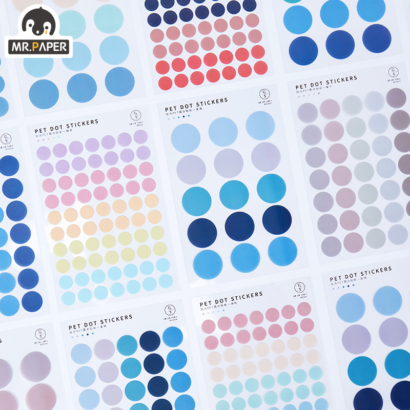 Mr.paper 7 Designs 3Pc Color Dot PET Sticker Scrapbooking Planner Laptop Japanese Cycle Toy Cool Doodling Decorative Stationery 2