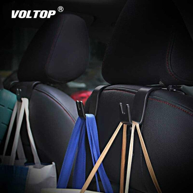 PAIR Car SUV Seat Headrest Stand Black Holder Hooks Hanger Organizer Bag Coats
