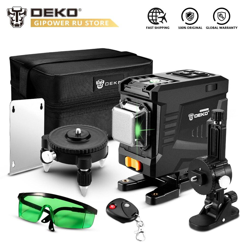 DEKO DKLL12PT1 12 Lines 3D Green light Horizontal&Vertical Lines Self-Leveling Laser Level with Remote Control High-Precision