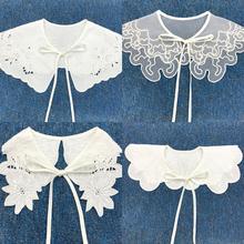 Женщины свитер футболка подделка воротник цветок вышивка бант галстук шаль одежда накидка