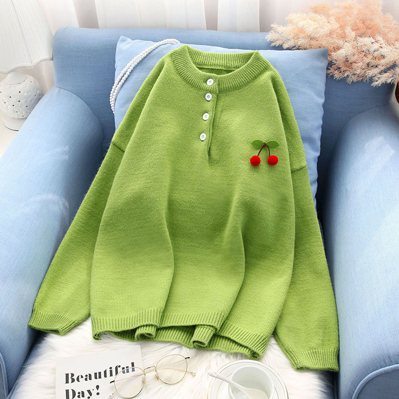 cherrty sweet cute women sweater and pullovers solid autumn new loose girl elegant pulls fashion outwear all match tops