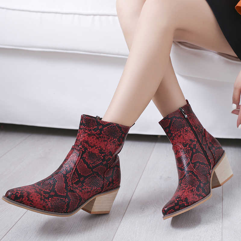 Schlange Stiefeletten Frauen Herbst Winter Dame High Heels Mode Frau Gold Silber Braun Rot Schnalle Zipper Spitz Schuhe