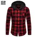 Camisas a cuadros de hombre nueva moda coreana salvaje de manga larga de franela con capucha camisa Casual ajustado Fit más tamaño de algodón ropa de hombre rojo