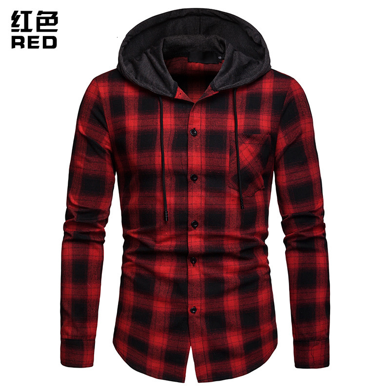 Men Plaid Shirts New Fashion Korean Wild Long Sleeve Flannel Hooded Shirt Casual Slim Fit Plus Size Cotton Men Clothes Red