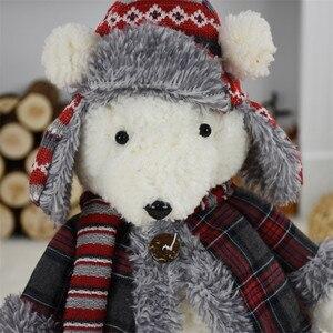 Image 5 - 2 шт./лот, подарок на Новый год, Рождество, день рождения, милый плюшевый медведь, куклы, Рождественское украшение для дома, офиса, прекрасные стоячие игрушки