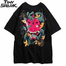 2020 힙합 T 셔츠 남성 스네이크 고스트 T 셔츠 하라주쿠 Streetwear Tshirt 코튼 반팔 여름 탑스 Tee HipHop Back Printed