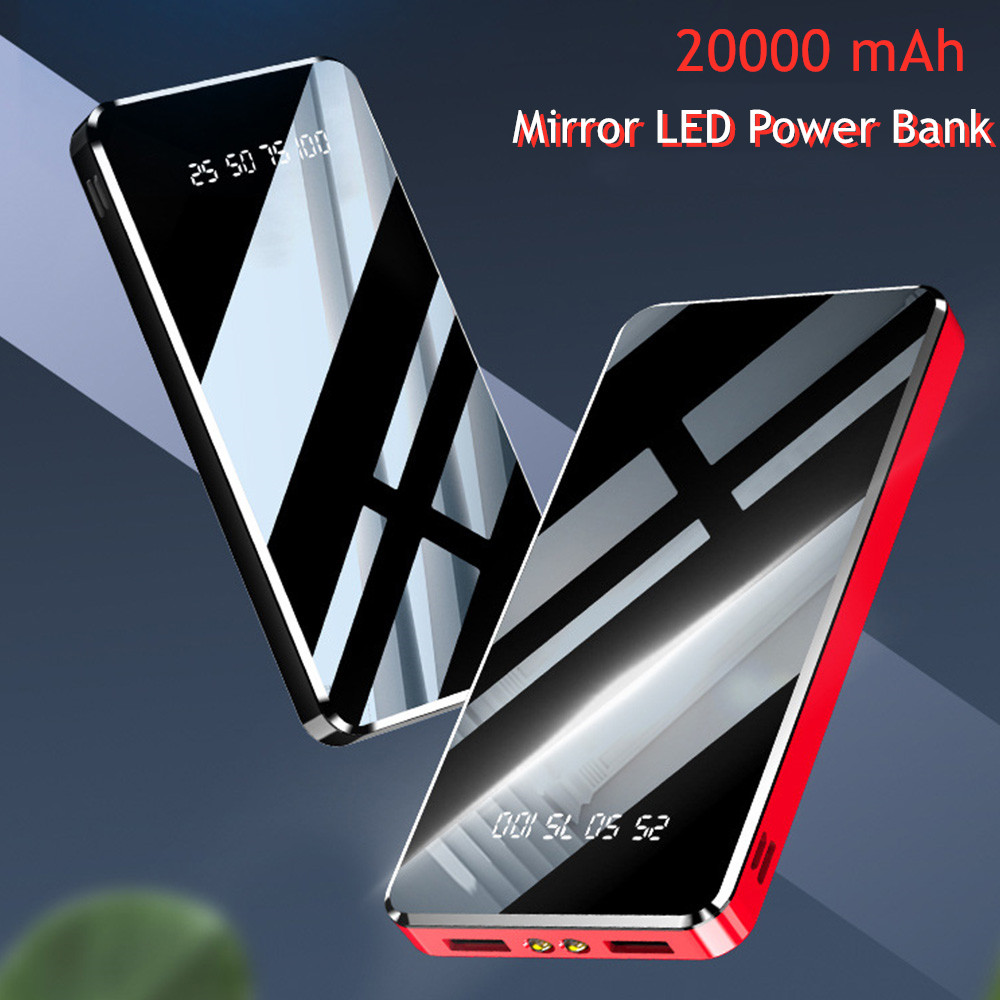 Mirror LED Digital Display <font><b>20000</b></font> mAh <font><b>Power</b></font> <font><b>Bank</b></font> Portable External Battery Charger 10000mAh Powerbank For iPhone 7 Samsung Xiaomi image