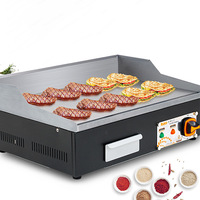 Commercial Electric Grill Roast Machine Stainless Steel Electric Griddle Grooved & Flat Large Hotplate Teppanyaki Grill