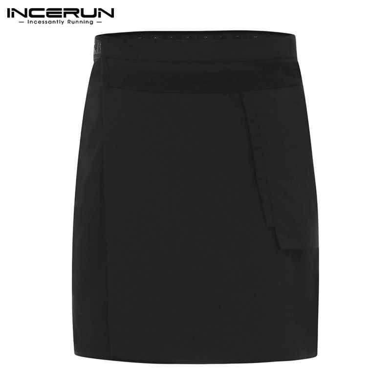 Waiter Uniform Aprons Unisex Pockets Solid Color Button Up Irregular Skirts Restaurant Cafe Working Chef Aprons INCERUN S-5XL