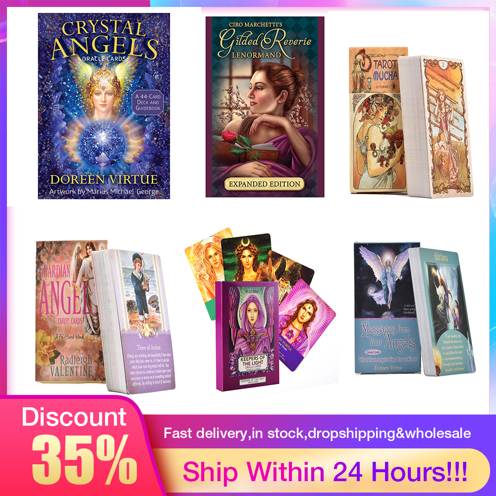 44PCS Crystal Angel Oracle Cards Table Deck Board Game Card For Family Gathering Party Playing Card Games Tarot Loves