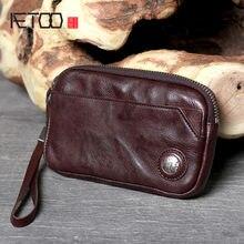 Aetoo винтажная кожаная длинная ручная сумка из воловьей кожи
