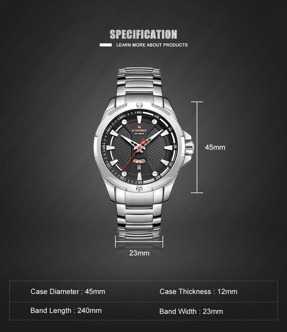 Hcbc3657bf87649a0a626500a9cde84ed4 Men's Watches Top Luxury Brand NAVIFORCE Analog Watch Men Stainless Steel Waterproof Quartz Wristwatch Date Relogio Masculino