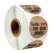 500 pçs redondo obrigado para o seu pedido adesivo coração obrigado para comprar pequena loja local feito à mão adesivos dourados rolos