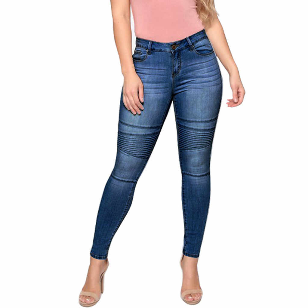 Women High Waist Slim Leggings Women Mom Imitation Jeans High Waist Elastic Spring Female Stretch Pencil Pants Skinny Trousers93