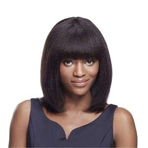 Прямые человеческие волосы Light Yaki, парик с челкой, перуанские парики без повреждения кутикулы Yaki, парики на сетке спереди с челкой, натуральн...