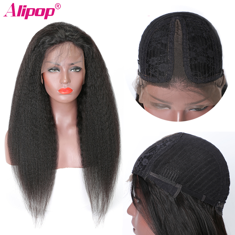 T Part Lace Front Wig Brazilian Kinky Straight Remy Human Hair Wigs Pre Plucked Middle Part Wig 150% Density Lace Wig ALIPOP