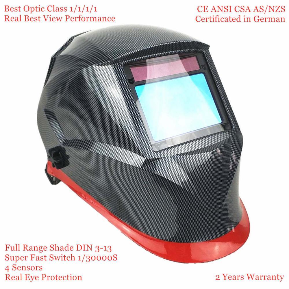 Welding Helmet Top Optical Class 1111 Full Shade 3-13 Viewing Area 100x65mm Welding Mask