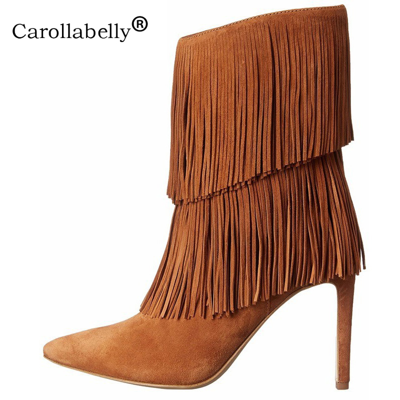 2019 New Tassel Boots Women Brown Black Suede Ankle Boots Thin High Heels Pointed Toe Fringe Mid Calf Boots