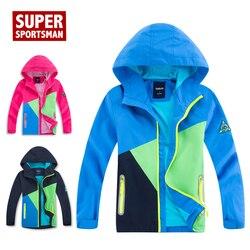 Inverno crianças jaquetas de chuva à prova dwaterproof água crianças velo softshell caminhadas esportes ao ar livre casaco menino menina acampamento blusão macio escudo