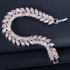 Image 3 - Pera Luxe 925 Sterling Zilveren Bruids Partij Sieraden Bladvorm Cz Crystal Stone Grote Bruiloft Armbanden Armband Voor Bruiden B025