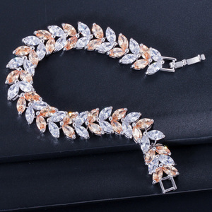 Image 3 - Pera Luxury 925 Sterling Silver Bridal Party Jewelry Leaf Shape CZ Crystal Stone Big Wedding Bracelets Bangle for Brides B025