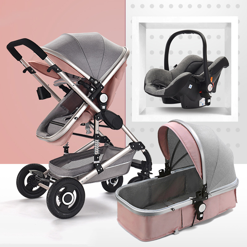 High Landscape Baby Stroller 3 in 1 Hot Mom Pink Stroller Luxury Travel Pram Carriage Basket Baby Car seat and Stroller