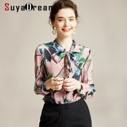 SuyaDream Women Floral Printed Blouses 100% Silk Crepe Long Sleeved Bow Collar Buttoned Office Blouse Shirt 2020 Spring Shirt
