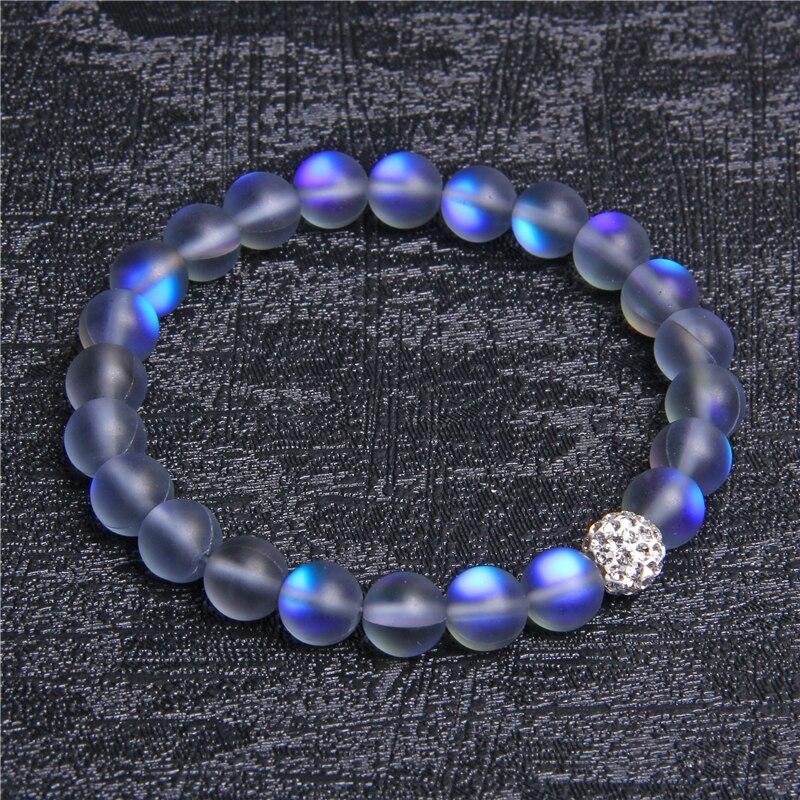 Moonstone Stone Beaded Bracelet For Women Men Chakra Yoga Shining Stone Beaded Charm Bracelet Handmade Wristband Gifts Jewelry