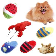 Funny Pet Dog Cat Plush Heart Print Slipper Watermelon Lobster Play Chew Toy(China)