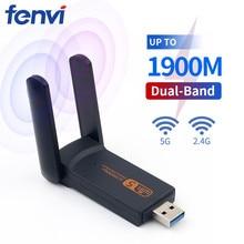 듀얼 밴드 1900M USB3.0 와이파이 1200Mbps AC600 USB 802.11ac 와이파이 어댑터 PC 노트북 무선 네트워크 Wlan 데스크탑 2.4G 5G 안테나