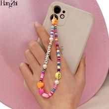 Hangzhi 2021 nova cinta do telefone móvel cordão colorido sorriso pérola cerâmica macia corda para telefone celular caso pendurado cabo para mulher