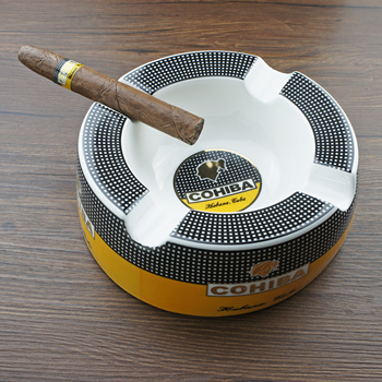 COHIBA Round Cigarette Ceramic Ashtray Pocket Holder 4 cigar Travel Cigar Ashtrays Portable Smoking