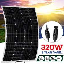 Panneau solaire 18 volts 320W semi-flexible, cellule solaire photovoltaïque, batterie étanche/yacht/RV/voiture/bateau avec connecteur