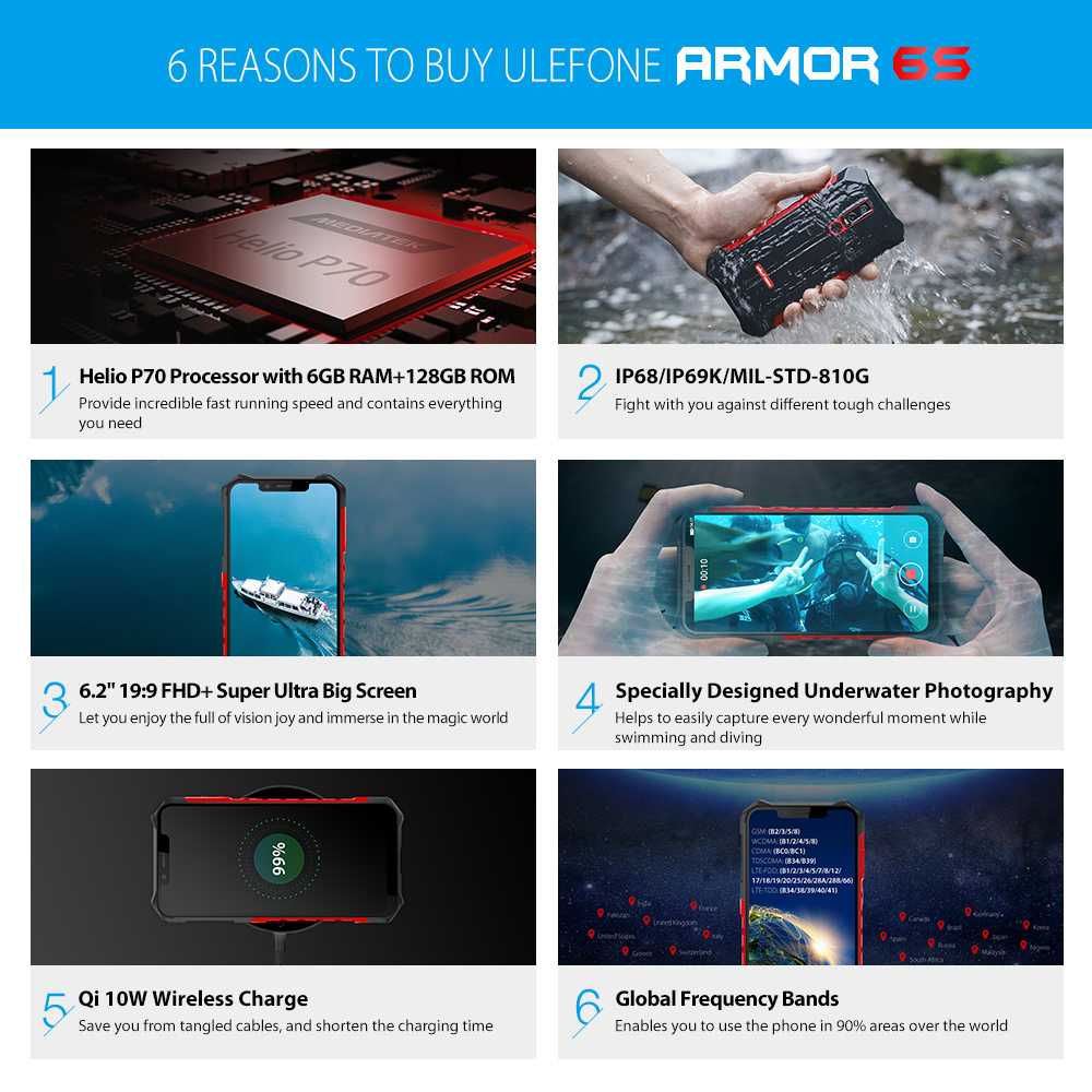 Image 5 - Ulefone Armor 6S Waterproof IP68 NFC Rugged Mobile Phone Helio P70 Otca core Android 9.0 6GB+128GB Smartphone Global version-in Cellphones from Cellphones & Telecommunications