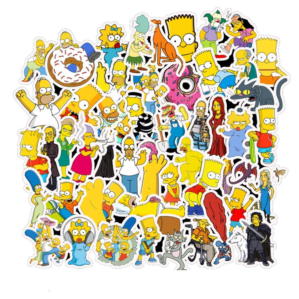 50PCS Anime Simpsons Cartoon Stickers Skateboard Fridge Guitar Laptop Motorcycle Travel Luggage Classic Toy Waterproof Stickers