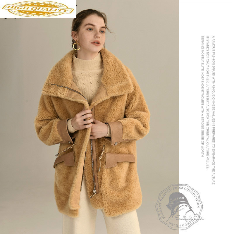 Autumn Winter Coat Women Clothes 2019 Sheep Shearing Real Fur Coat 100% Wool Jacket Women Korean Lamb Fur Tops HYL1936 YY1957